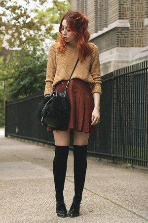 camel H&M sweater - burnt orange thrifted vintage skirt
