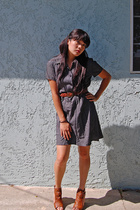Vintage Blue dress - belt - Bakers shoes