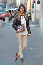 Jonak shoes - leather Oakwood jacket - Zara shirt - glitter clutch Gat Rimon bag