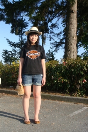 hat - Harley Davidson shirt - shorts - Aldo shoes - TIM HORTONS YUM YUM YUM purs