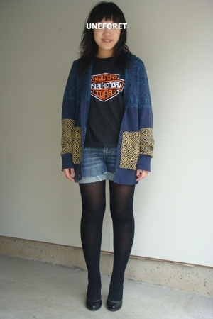 UO coat - Harley Davidson shirt - shorts - tights - seychelles shoes