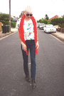 Red-cotton-gregory-ladner-scarf-navy-denim-country-road-pants