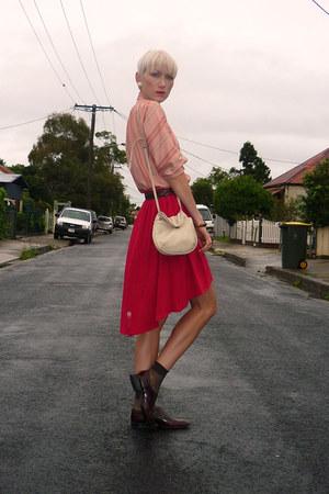 red rayon DIY skirt - brick red brogues vintage shoes