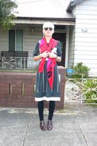 beige cotton vintage dress - red silk scarf