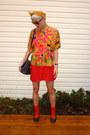 Red-rayon-diy-dress-mustard-vibrant-vintage-blouse