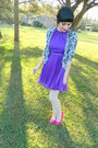 Vintage-dress-suede-heels-delias-cardigan-polka-dots-f21-stockings