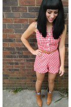 gingham vintage romper - amazing boots - shadow striped Old Navy socks