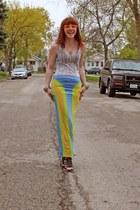 Manic Pop skirt - ivory brooklyn industries t-shirt - black Skechers heels