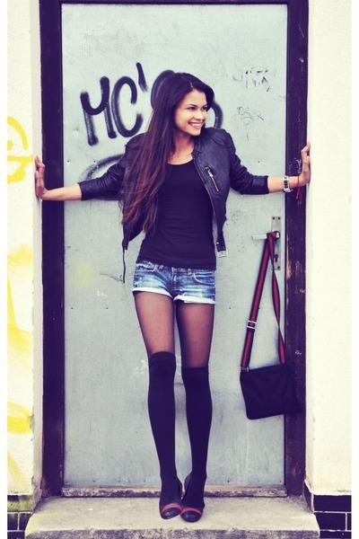 black H&M jacket - black Gucci bag - navy Mango shorts - black Gucci flats
