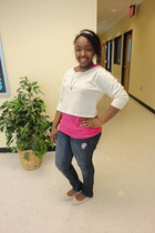 skinny jeans jeans - pink crochet rue21 shirt - crop top rue21 top - cream bow A
