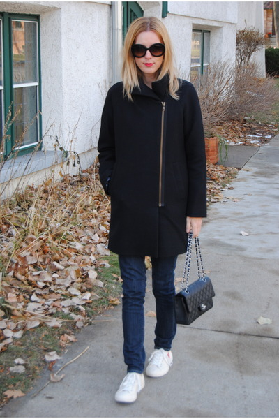 black JCrew coat - navy Levis jeans - black Chanel bag
