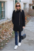 black JCrew coat - navy Levis jeans - black Chanel bag