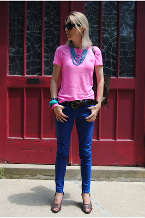 blue Marshalls pants - hot pink madewell t-shirt - sky blue Forever 21 necklace