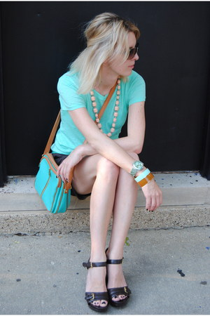 tawny JCrew bracelet - light blue JCrew t-shirt - dark brown Ralph Lauren wedges