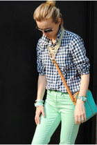 aquamarine Urban Outfitters jeans - blue JCrew shirt