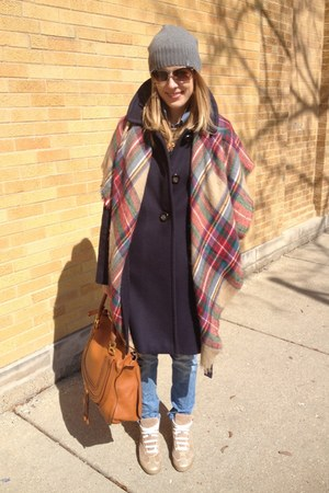 burnt orange Zara scarf - navy JCrew coat