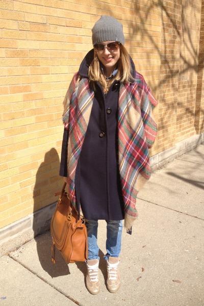 burnt orange Zara scarf - navy JCrew coat