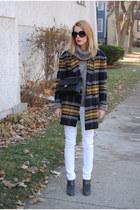 navy Zara coat - white Marshalls pants