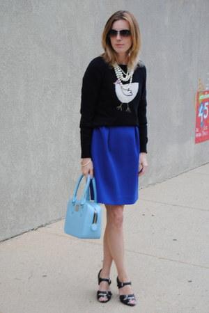 blue JCrew dress - blue simple bag