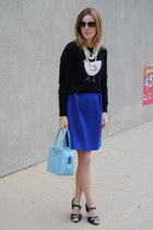 blue JCrew dress - blue simple bag