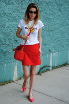 red JCrew skirt - red Furla bag