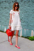 red Furla bag - white Anthropologie dress