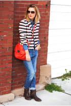 ruby red JCrew jacket - dark brown united colors of benetton shoes
