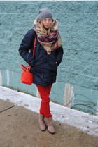 navy JCrew coat - red Marshalls pants