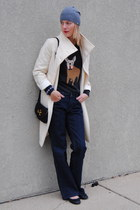 gray JCrew sweater - white united colors of benetton coat