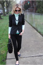 black united colors of benetton jacket - aquamarine JCrew top - black Gap flats