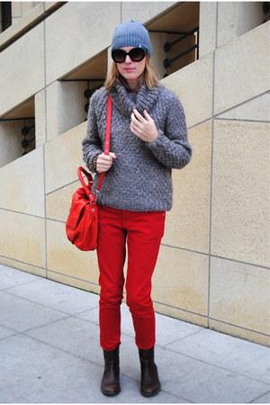 red Marshalls jeans - heather gray TJ Maxx sweater