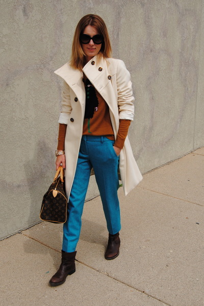 white united colors of benetton coat - turquoise blue JCrew pants