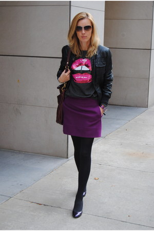 deep purple JCrew skirt - heather gray Forever 21 sweater
