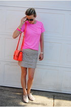 peach Express shoes - bubble gum madewell t-shirt - neutral Marshalls skirt