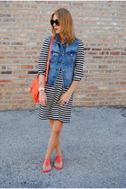blue JCrew jacket - red kate spade bag