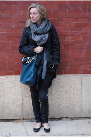 charcoal gray H&M scarf - heather gray JCrew scarf