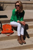 light brown Zara boots - green JCrew top - white Marshalls pants