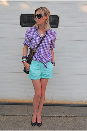 amethyst JCrew shirt - aquamarine JCrew shorts
