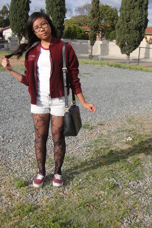 red jacket - black Charlotte Russe stockings - red Forever 21 shirt - red Vans s