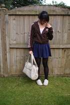 adidas jacket - Gap t-shirt - American Apparel skirt - Marks and Spencers stocki