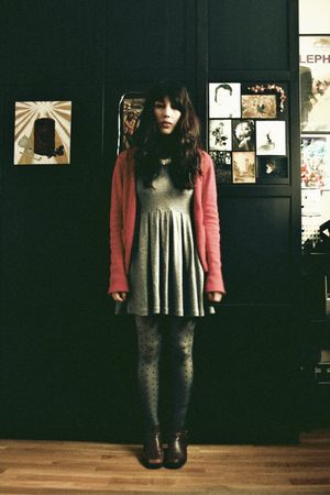 gray Zara dress - black H&M tights - brown second-hand boots - red H&M cardigan