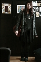 silver Zara cardigan - black COS dress - blue Zara shirt - black vintage boots -