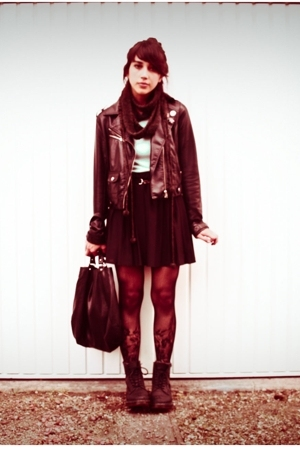 vintage skirt - H&M jacket - doc martens shoes - vintage t-shirt - H&M tights -