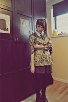 green second hand dress - gray handmade skirt - black cavallini tights - brown s