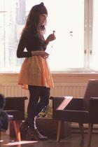 gold second hand skirt - black second hand dress - brown second hand boots - bla