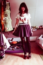 t-shirt - self-made skirt - vintage tights - Pimkie shoes