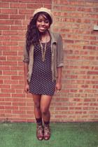 dark brown Forever 21 boots - black Forever 21 dress