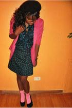 hot pink H&M blazer - bubble gum Topshop blazer - teal Forever 21 dress