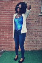 navy Topshop jeans - black Walmart shoes - white H&M blazer - gray H&M necklace