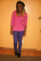 black H&M shoes - purple H&M jeans - black H&M hat - hot pink  top